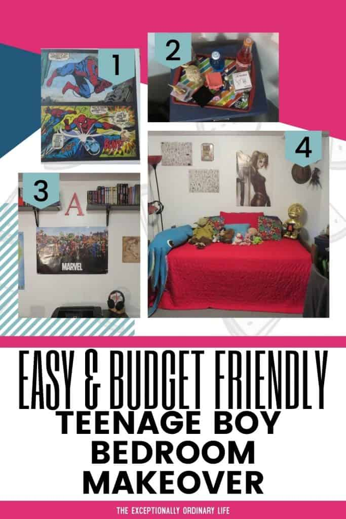 Teenage boy bedroom makeover on a budget.